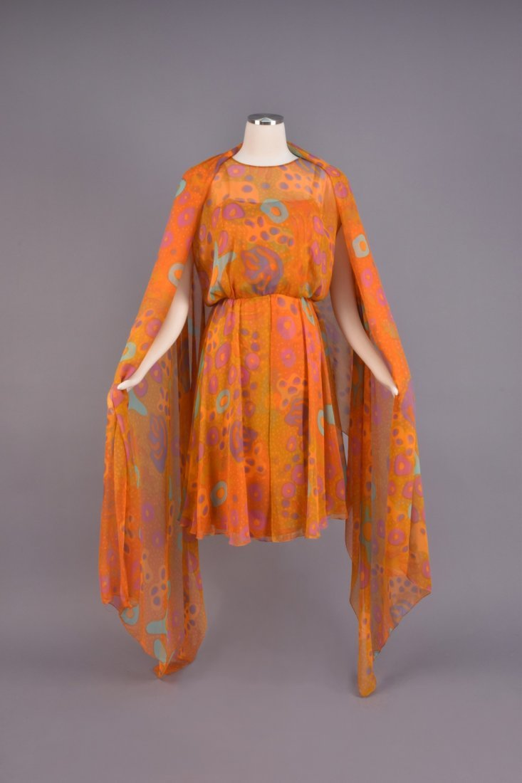 SARMI CHIFFON AMOEBA PRINT DRESS and STOLE, 1970s