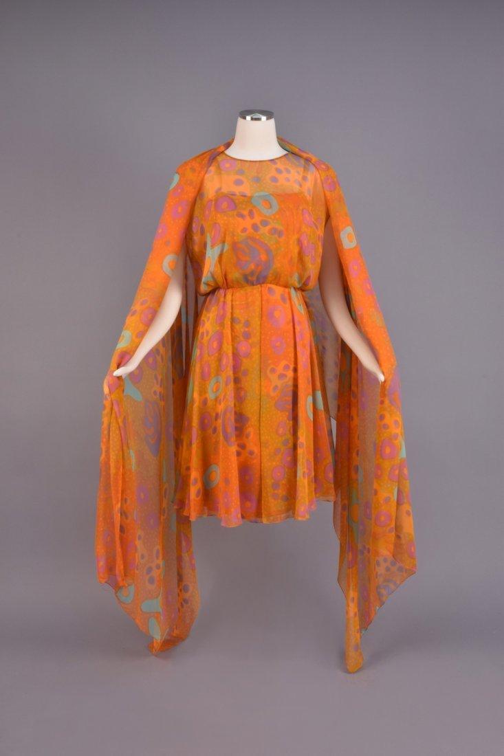 SARMI CHIFFON AMOEBA PRINT DRESS and STOLE, 1970s