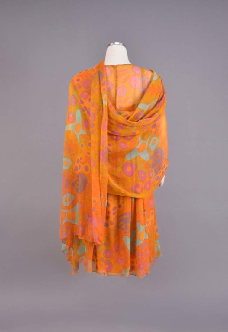 SARMI CHIFFON AMOEBA PRINT DRESS and STOLE, 1970s - 2