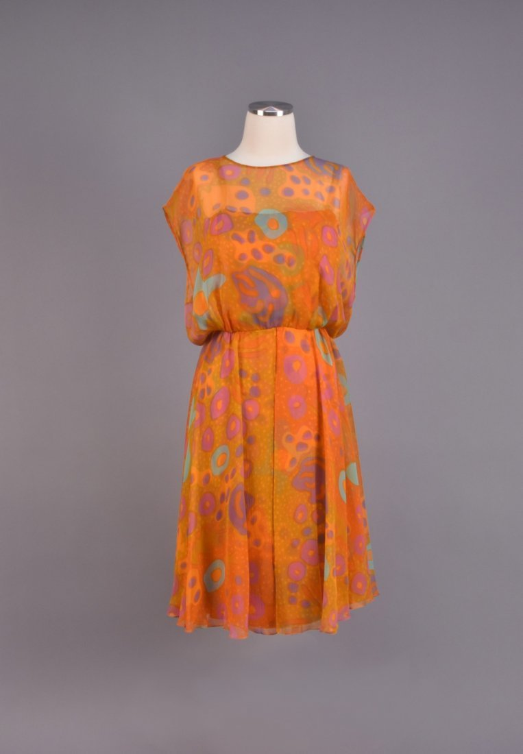 SARMI CHIFFON AMOEBA PRINT DRESS and STOLE, 1970s - 3