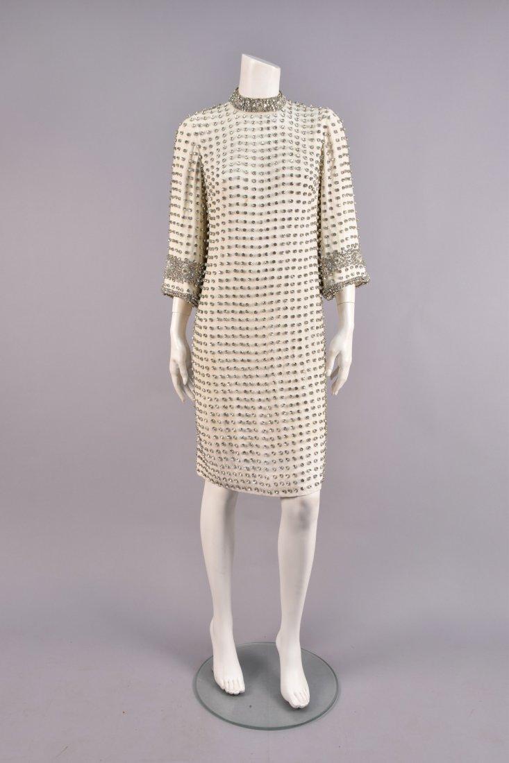 RHINESTONE STUDDED CREPE DRESS, 1960s