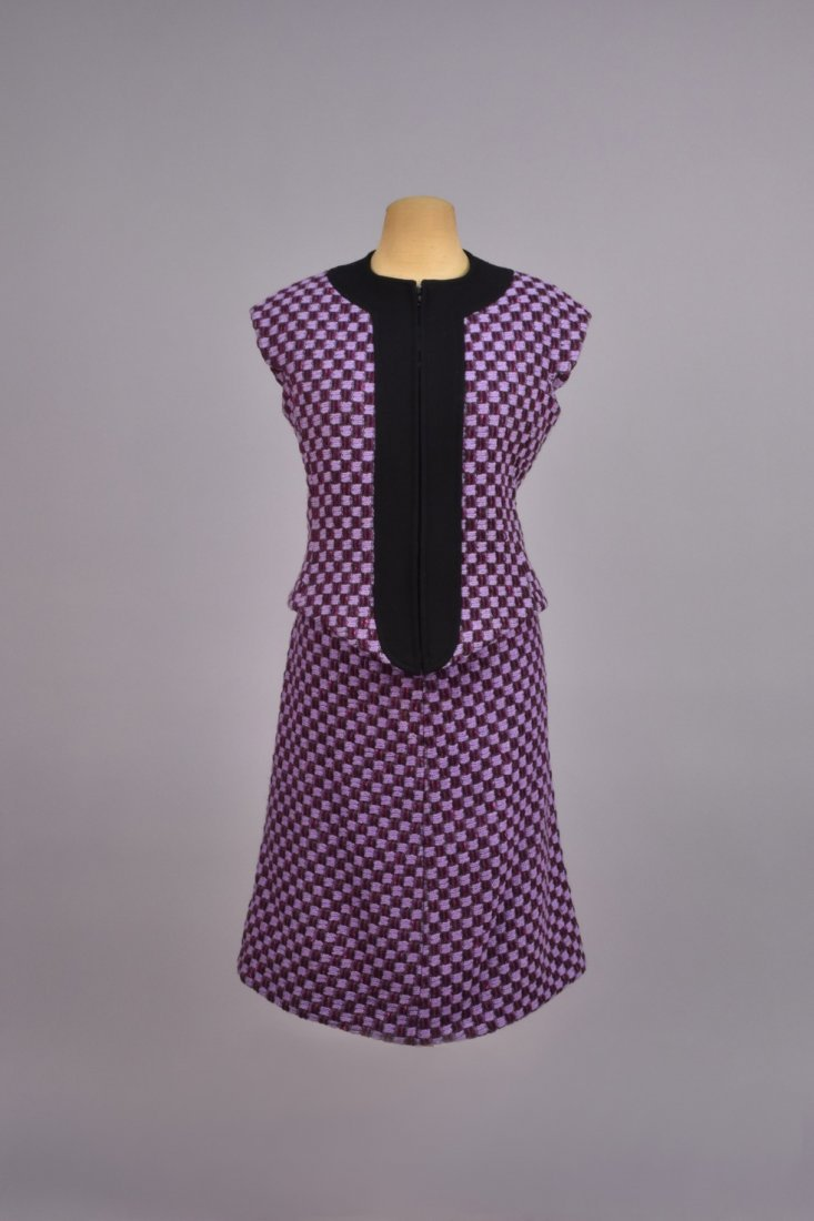 PIERRE CARDIN WOOL SKIRT and VEST ENSEMBLE, 1960s.