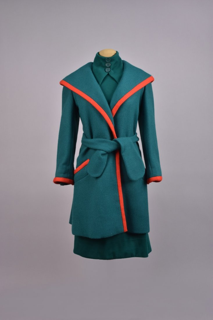 GEOFFREY BEENE WOOL DAY DRESS and COAT, 1960s