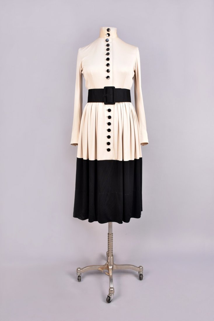 NORELL 2-TONE DAY DRESS with BUTTONS, c. 1960