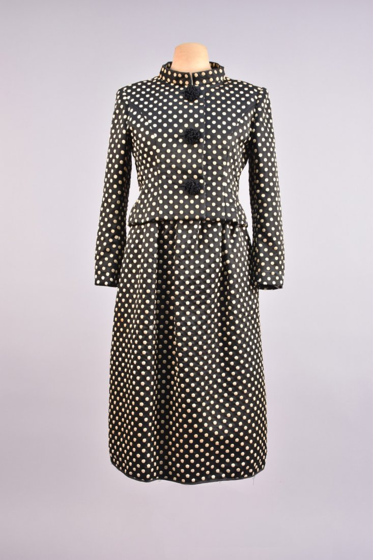 NORMAN NORELL DOTTED SILK DRESS and JACKET, c. 1960.