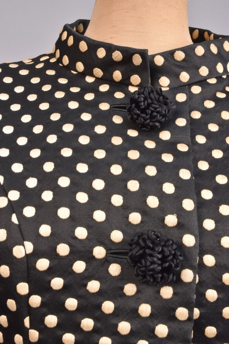 NORMAN NORELL DOTTED SILK DRESS and JACKET, c. 1960. - 3