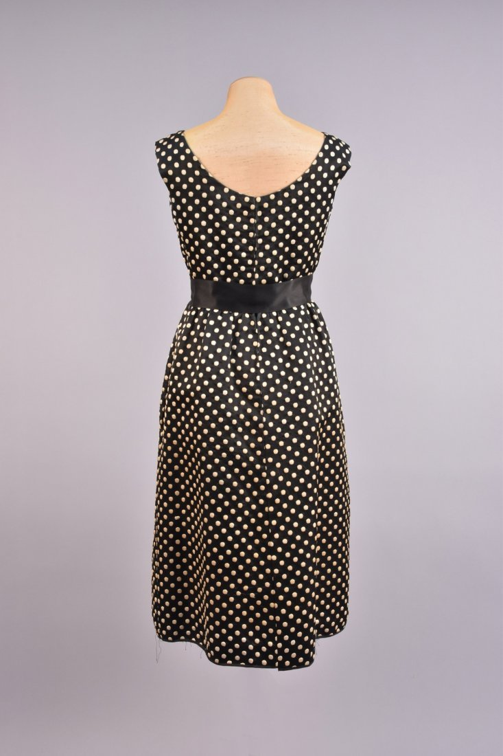 NORMAN NORELL DOTTED SILK DRESS and JACKET, c. 1960. - 6