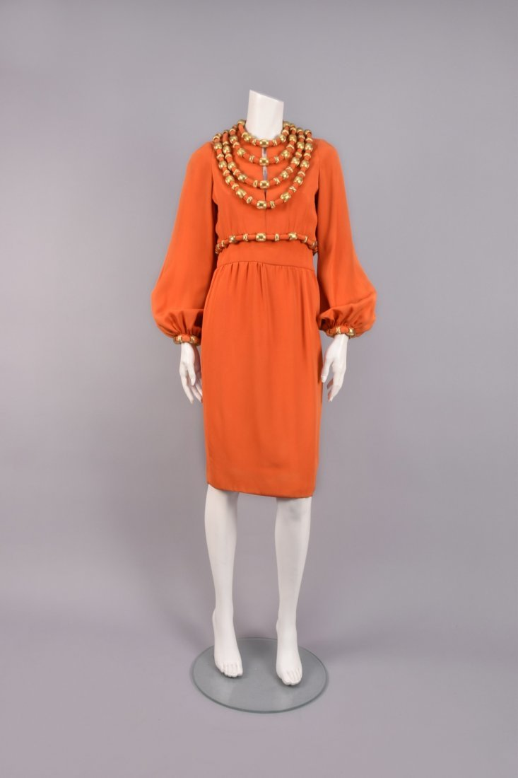 BOOTSY HEARST'S COCKTAIL DRESS with GOLD SWAGS, 1960s
