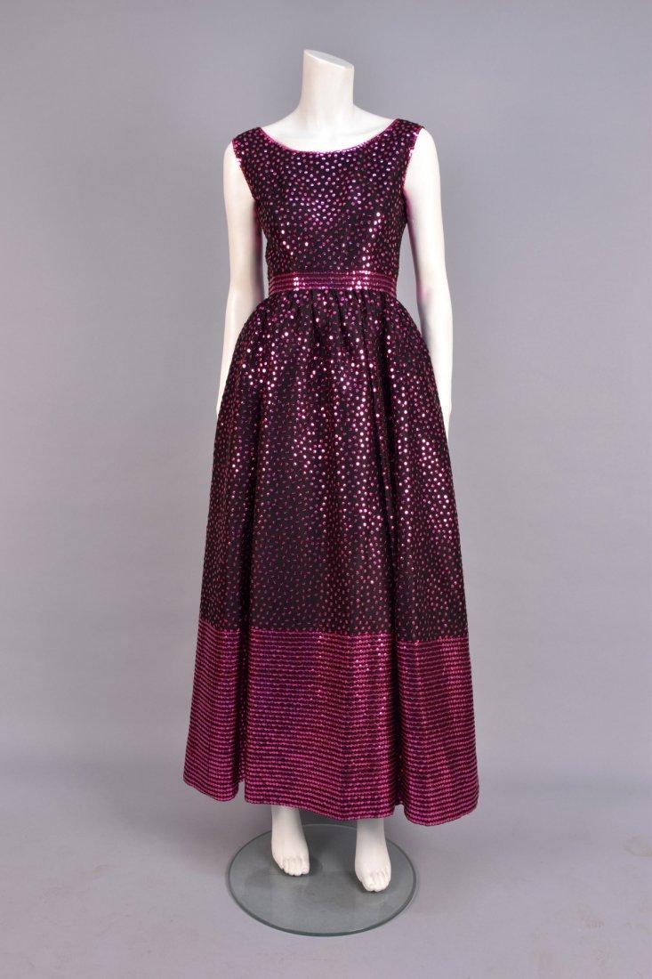 NORELL SEQUINED SILK EVENING DRESS, c. 1970.