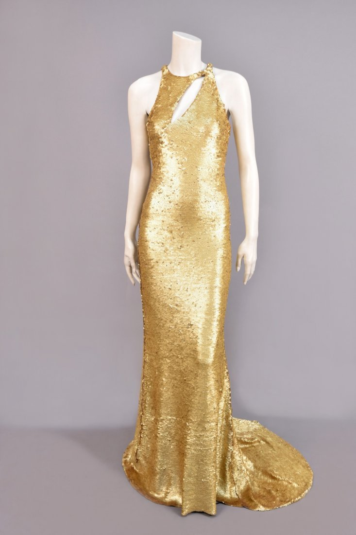 OLEG CASSINI STRETCH SEQUINED GOWN, 1970s.