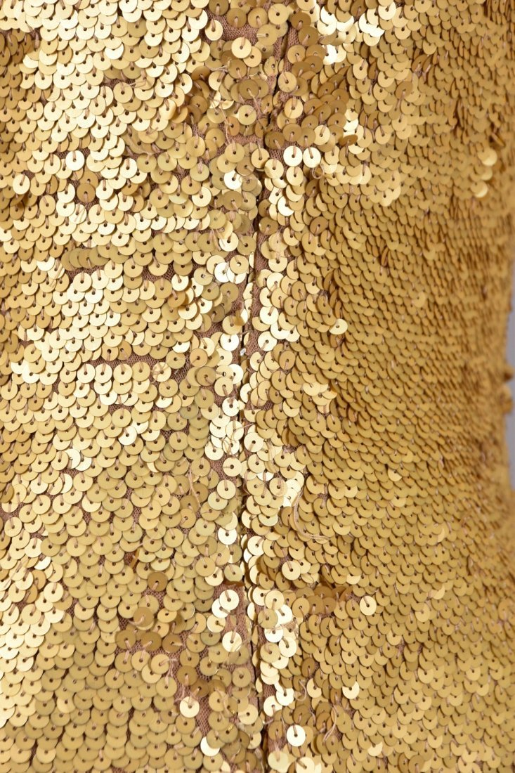 OLEG CASSINI STRETCH SEQUINED GOWN, 1970s. - 3
