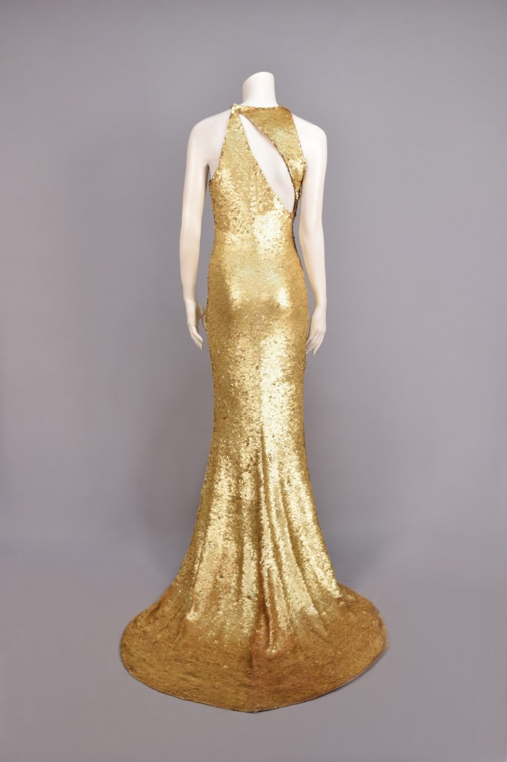 OLEG CASSINI STRETCH SEQUINED GOWN, 1970s. - 4