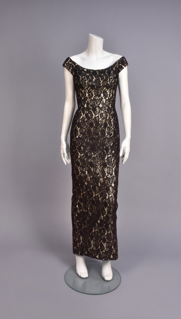 MR. BLACKWELL LACE and LAME EVENING GOWN, 1960s