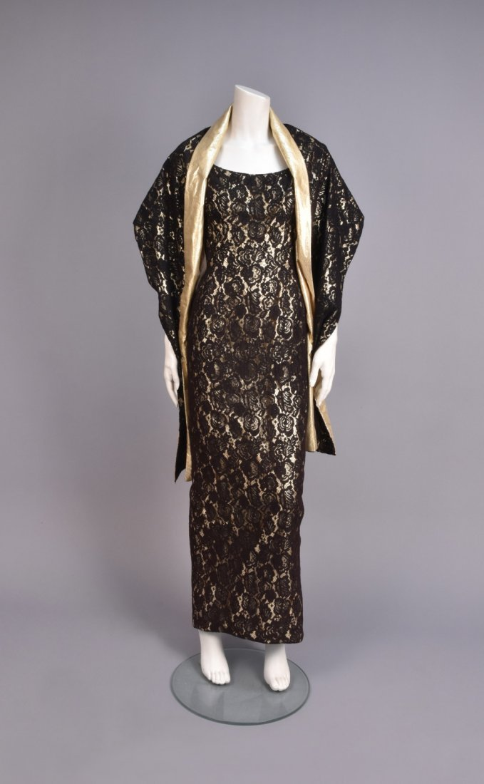 MR. BLACKWELL LACE and LAME EVENING GOWN, 1960s - 2
