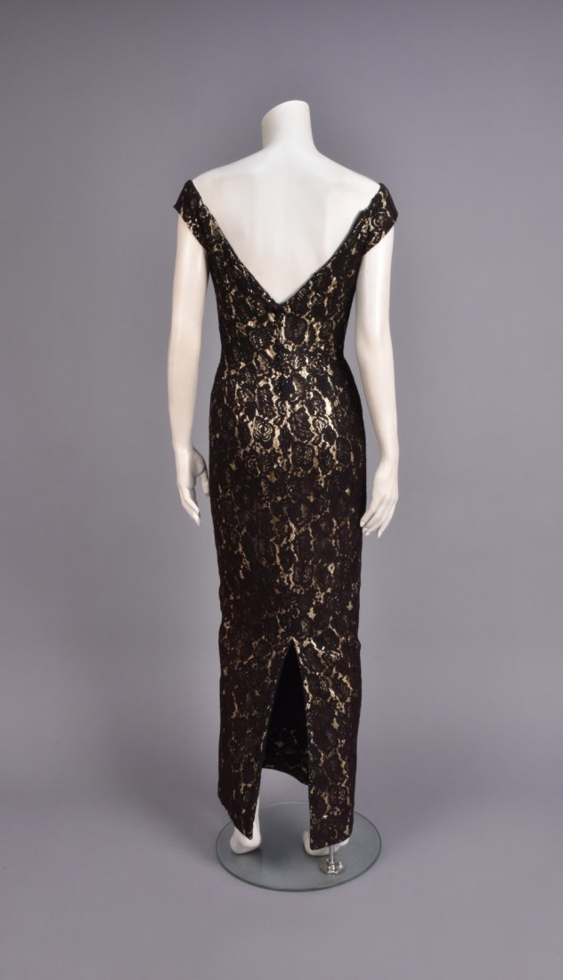 MR. BLACKWELL LACE and LAME EVENING GOWN, 1960s - 3