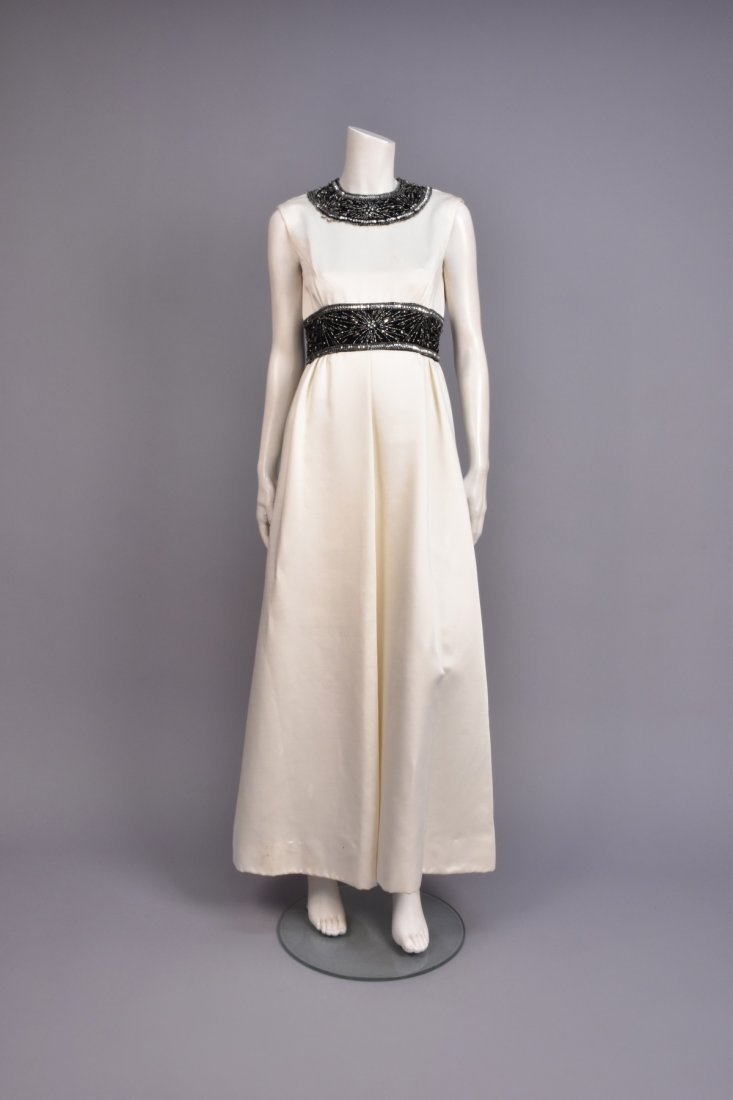 CEIL CHAPMAN EVENING GOWN with BEADED TRIM, 1960s