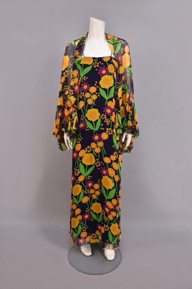 STAVROPOULOS FLORAL CHIFFON GOWN and STOLE, 1970s.