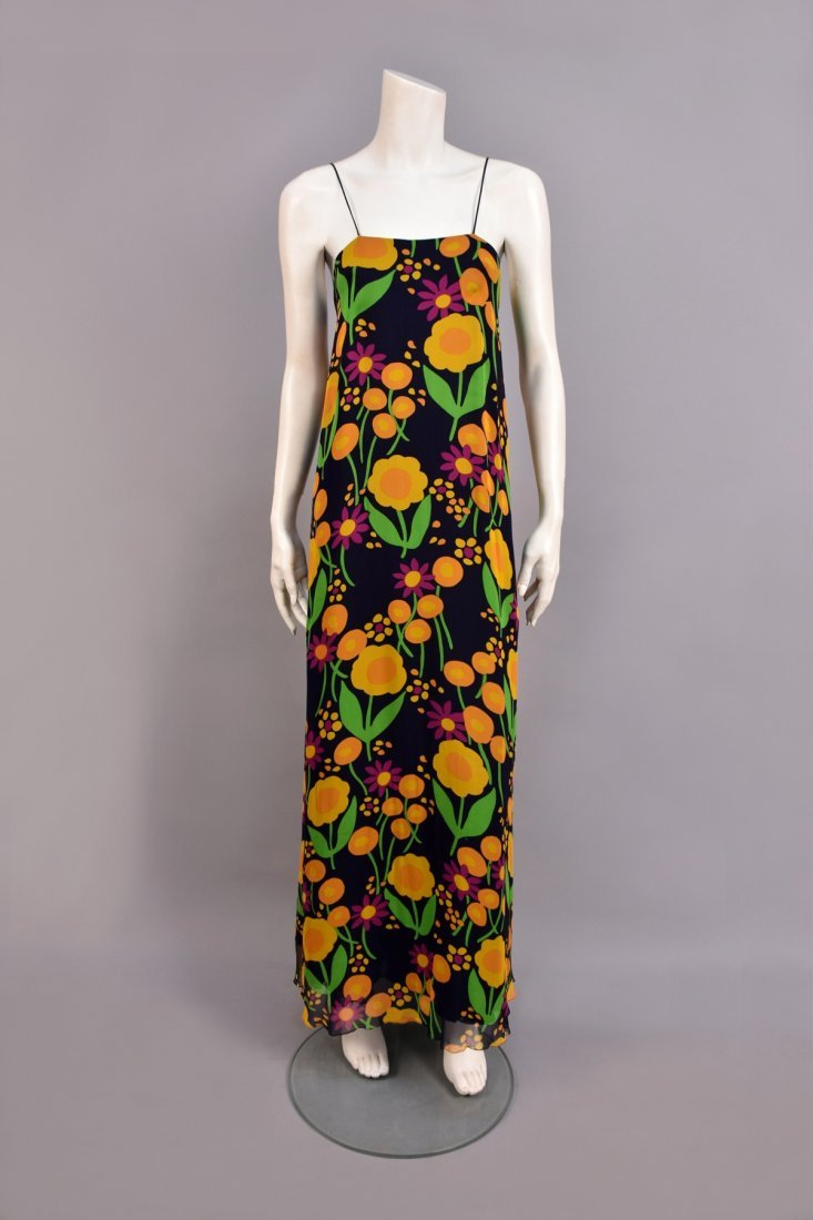 STAVROPOULOS FLORAL CHIFFON GOWN and STOLE, 1970s. - 2