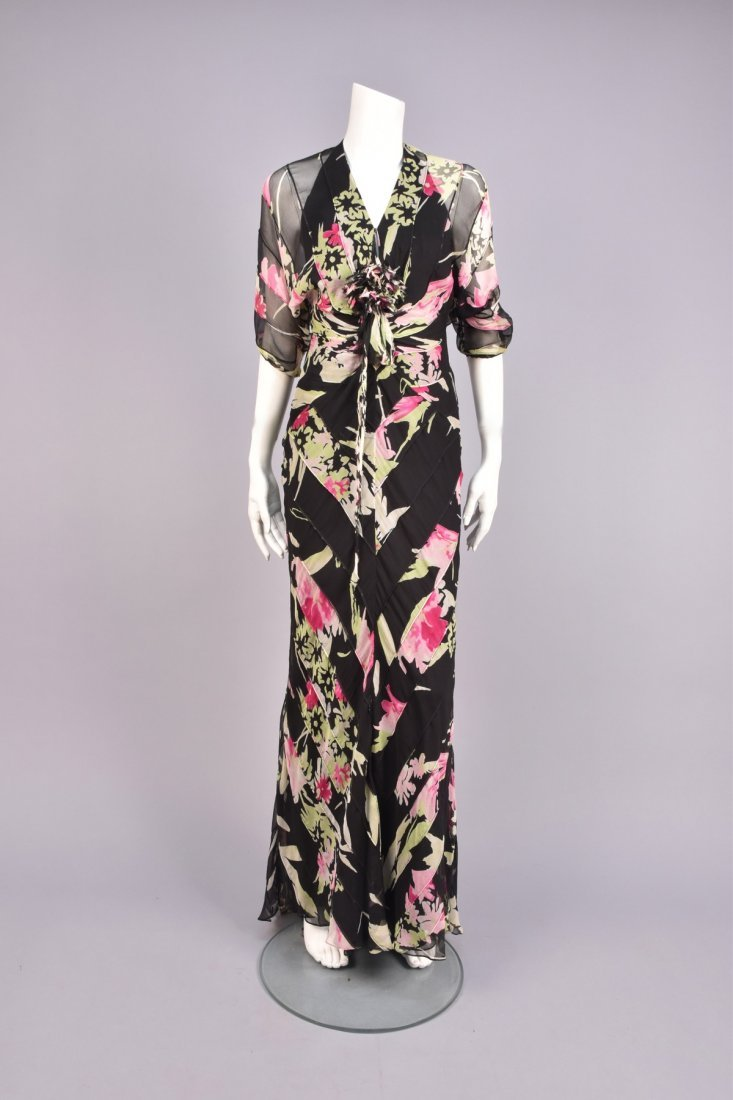 OSSIE CLARK ATTRIBUTED  FLORAL CHIFFON GOWN, 1970s.