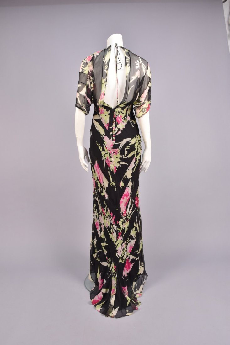 OSSIE CLARK ATTRIBUTED  FLORAL CHIFFON GOWN, 1970s. - 2
