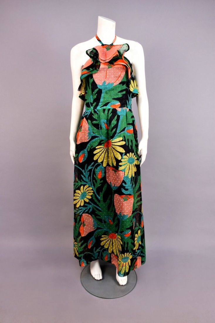GIVENCHY FLORAL PRINTED HALTER GOWN, 1960s.