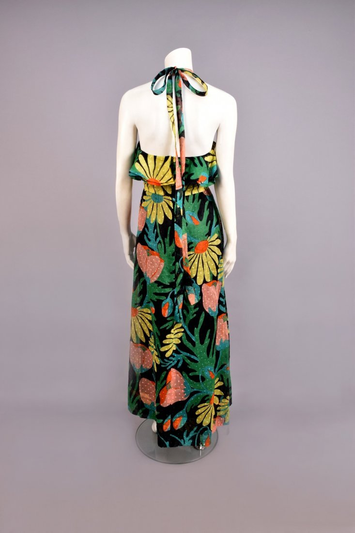 GIVENCHY FLORAL PRINTED HALTER GOWN, 1960s. - 2
