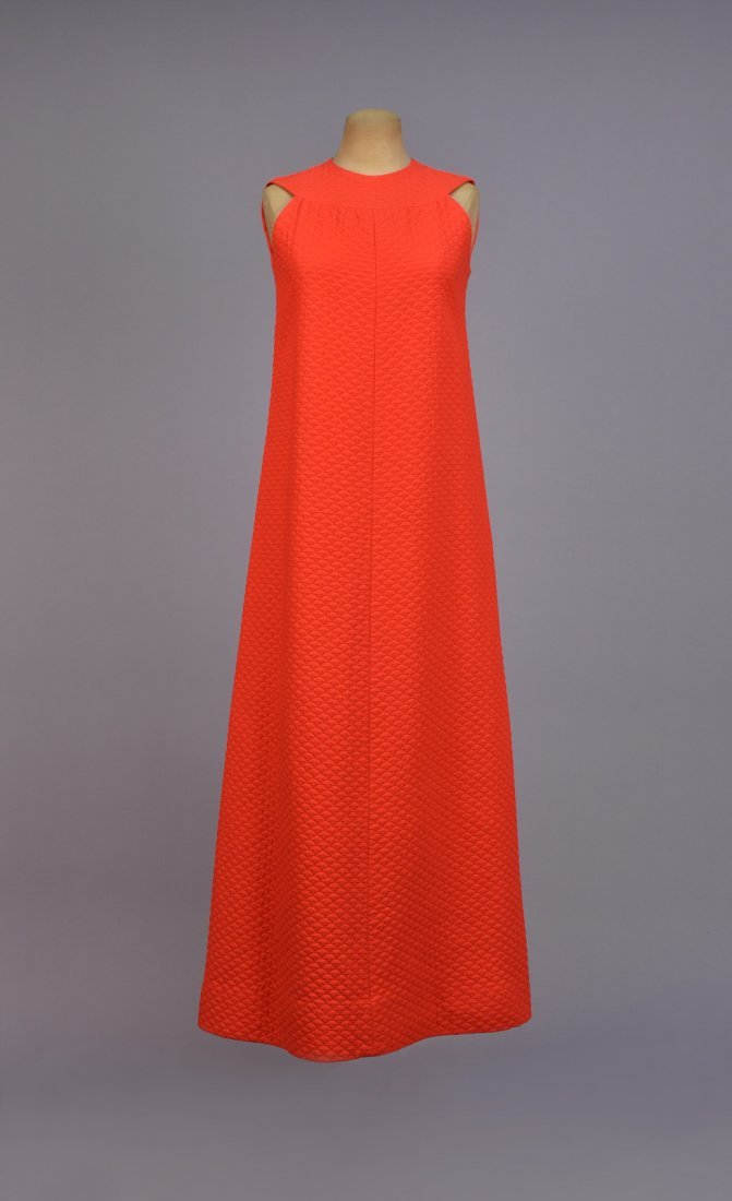LANVIN  QUILTED COTTON MAXI DRESS, 1970s. - 2