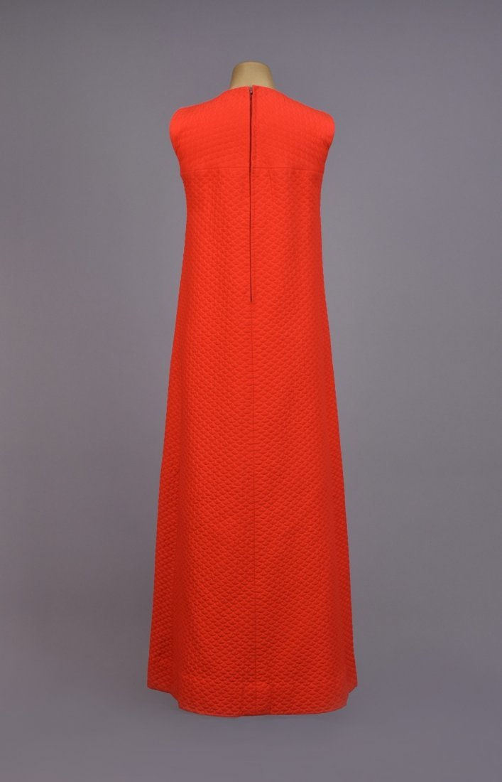 LANVIN  QUILTED COTTON MAXI DRESS, 1970s. - 3