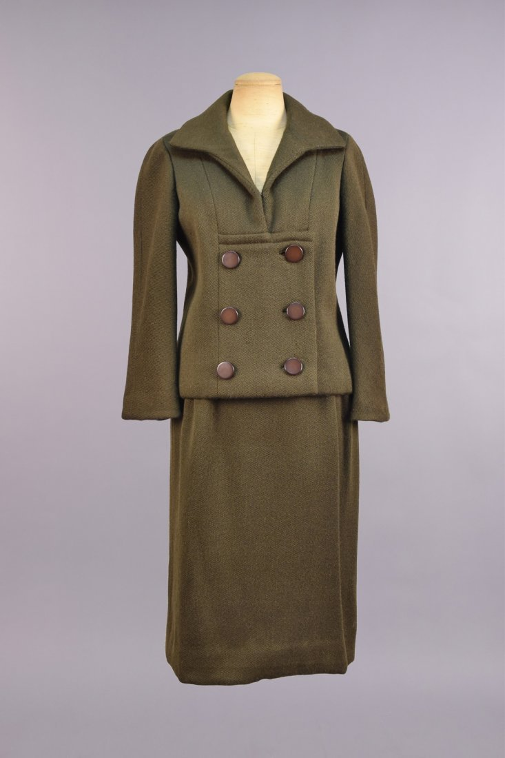 JEAN DESSES PRET a PORTER WOOL SKIRT SUIT, c. 1960.