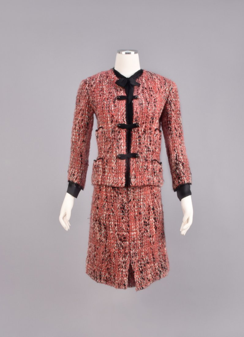 CHANEL DEMI-COUTURE 3-PIECE TWEED SKIRT SUIT, 1965.