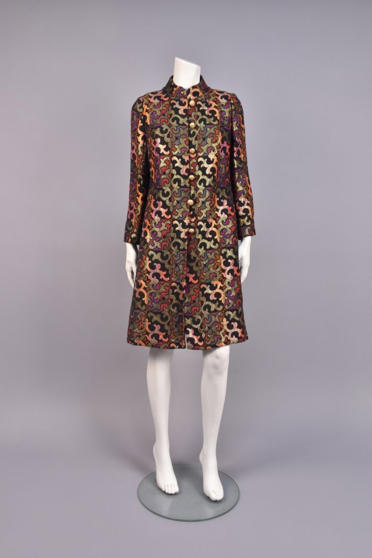 PATTERNED WEAVE COAT and DRESS, 1960s.