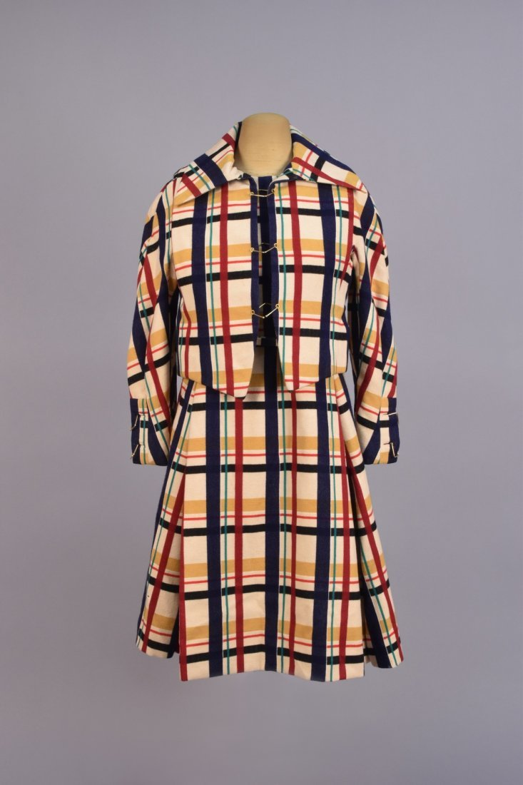 GALANOS BLANKET PLAID WOOL DRESS and VEST, 1960s.