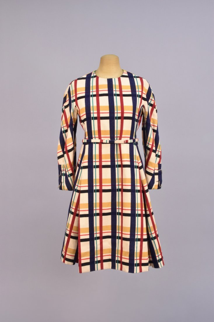GALANOS BLANKET PLAID WOOL DRESS and VEST, 1960s. - 2