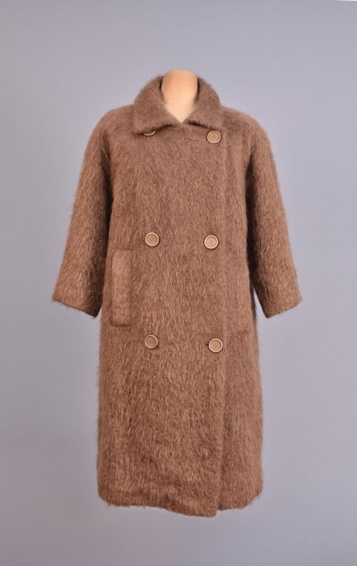 BALENCIAGA BROWN MOHAIR COAT, 1960s.