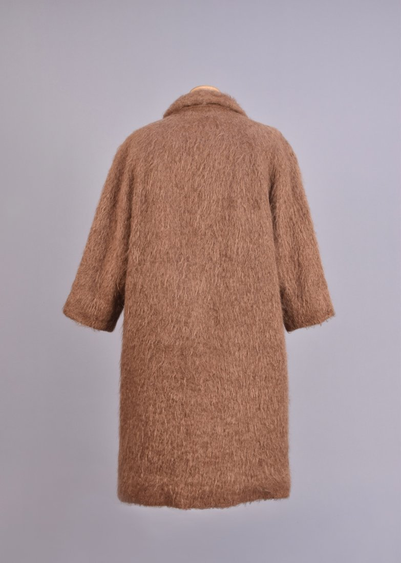 BALENCIAGA BROWN MOHAIR COAT, 1960s. - 2