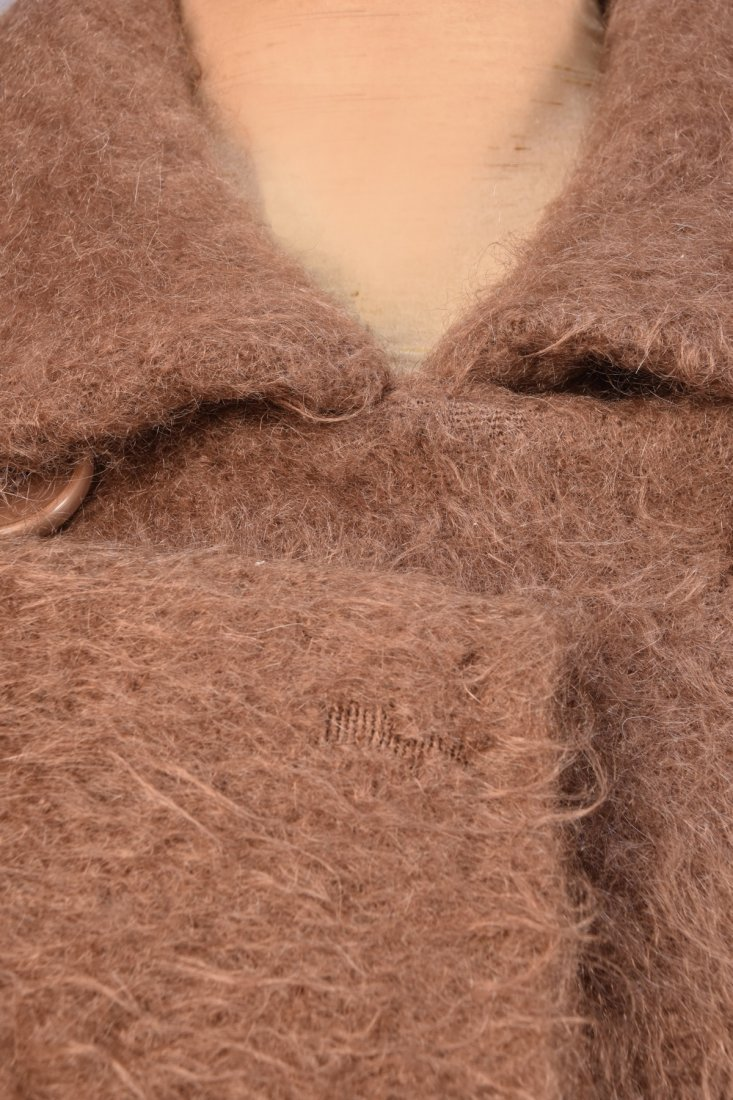 BALENCIAGA BROWN MOHAIR COAT, 1960s. - 3