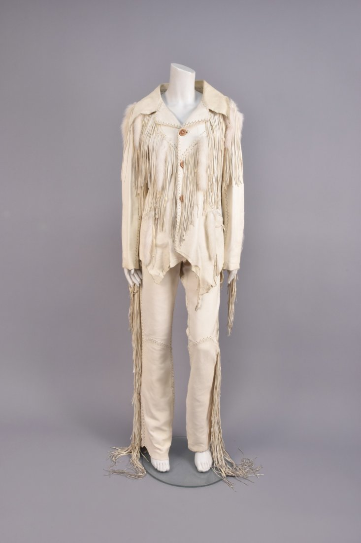 MAHOPA FRINGED LEATHER JACKET and PANTS, 1970s.