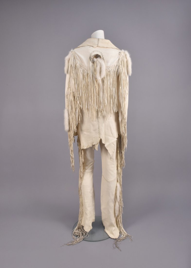 MAHOPA FRINGED LEATHER JACKET and PANTS, 1970s. - 2