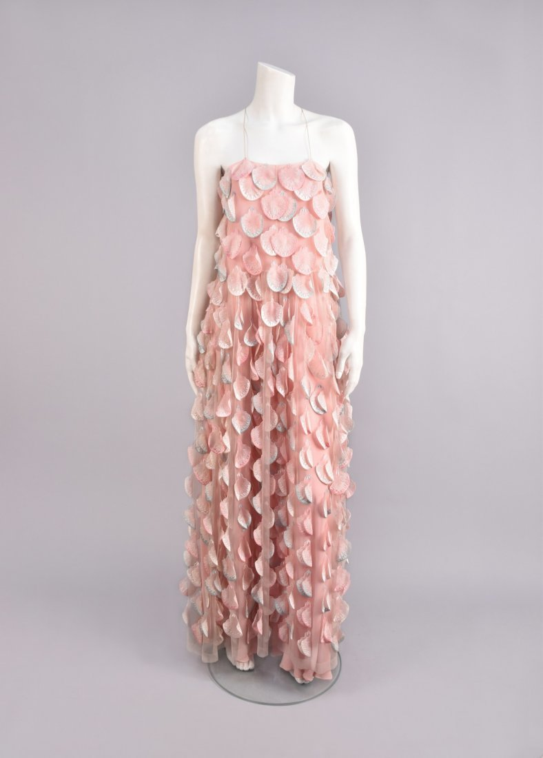 STAVROPOULOS SHELL APPLIQUED SILK GOWN, 1970s  - 1980s.