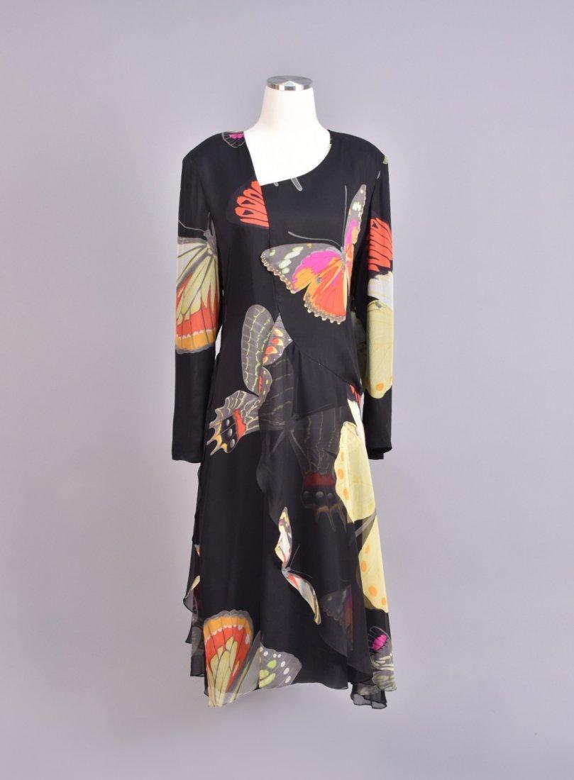 HANAI MORI PRINTED CHIFFON BUTTERFLY DRESS, 1980s.