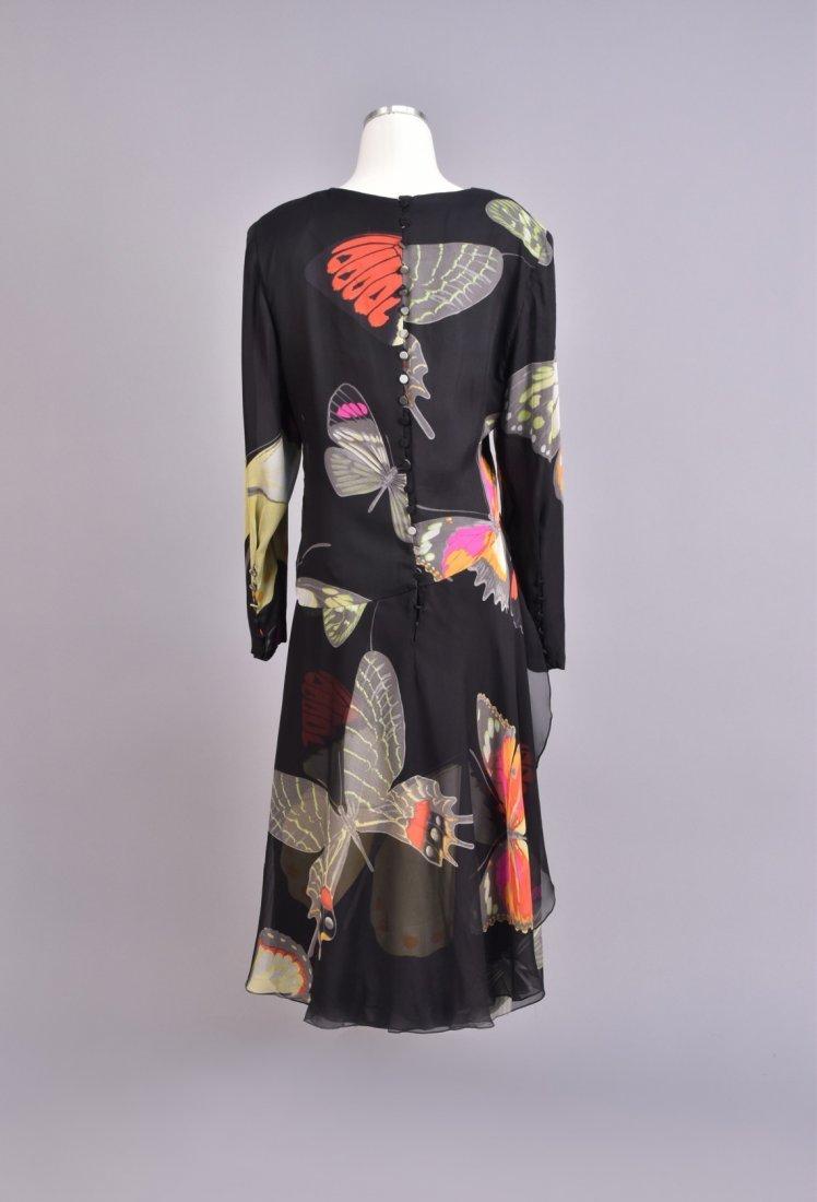HANAI MORI PRINTED CHIFFON BUTTERFLY DRESS, 1980s. - 2