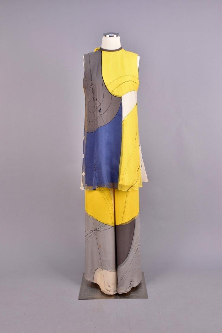 HANAI MORI PRINTED SILK PANTS ENSEMBLE, 1980s.