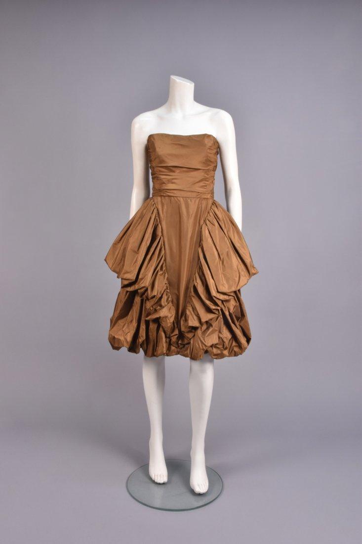BILL BLASS STRAPLESS SILK COCKTAIL DRESS, 1980s.