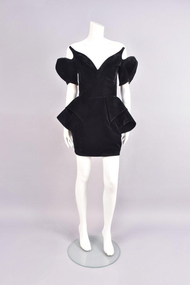 THIERRY MUGLER VELVET COCKTAIL DRESS, 1980s.