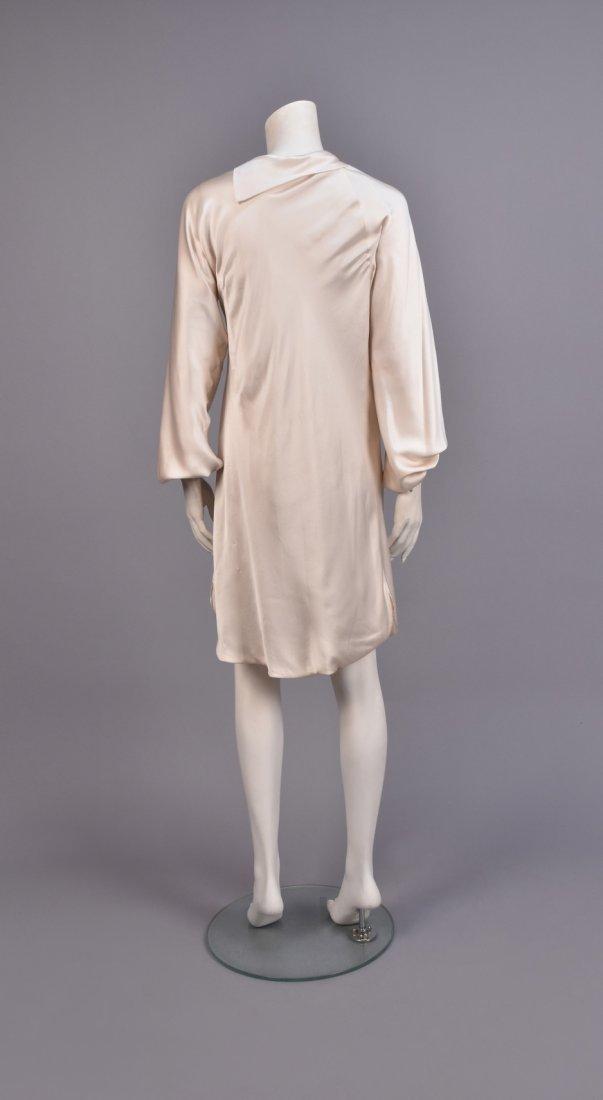 HALSTON SILK DRESS with ASYMMETRICAL NECKLINE - 2