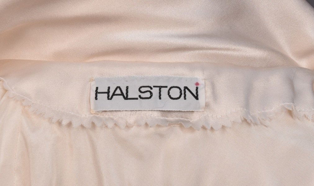 HALSTON SILK DRESS with ASYMMETRICAL NECKLINE - 3