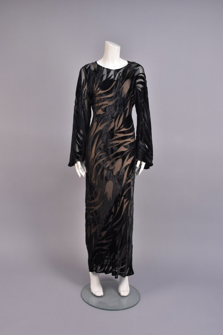 HALSTON BLACK VOIDED VELVET GOWN