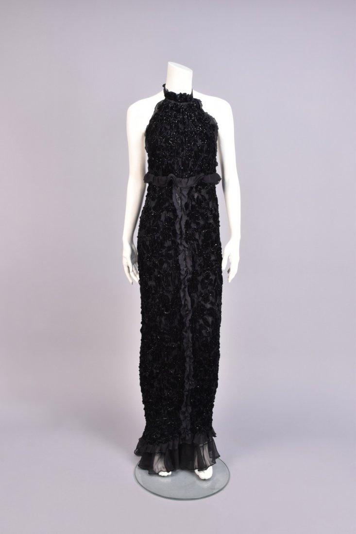 BADGLEY MISCHKA RUCHED VELVET HALTER DRESS, 1990s.