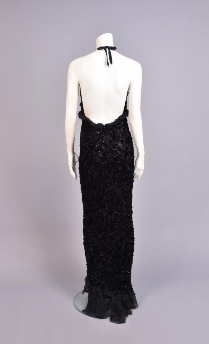 BADGLEY MISCHKA RUCHED VELVET HALTER DRESS, 1990s. - 2