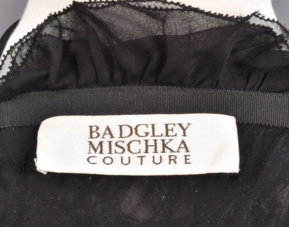 BADGLEY MISCHKA RUCHED VELVET HALTER DRESS, 1990s. - 4